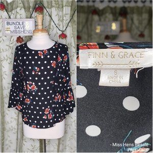 FINN & GRACE BLACK WHITE POLKA DOT FLORAL BLOUSE